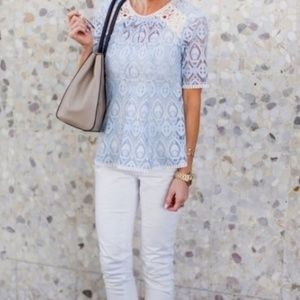 Anthro HD in Paris Blue Lace Applique Signa Blouse